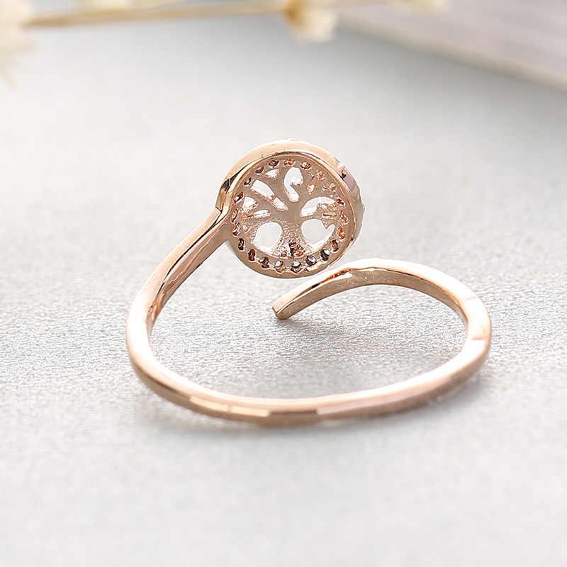 Tree Of Life อินเทรนด์ต้นไม้รูปร่างแหวนทองแดงเครื่องประดับสำหรับครอบครัว Ajustable ยอดนิยมแหวนผู้หญิงผู้ชาย joyas Anello