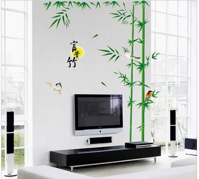 Burung bambu tanaman dinding vinyl decals seni islamic bedroom furniture dinding rak dekorasi stiker dinding diy