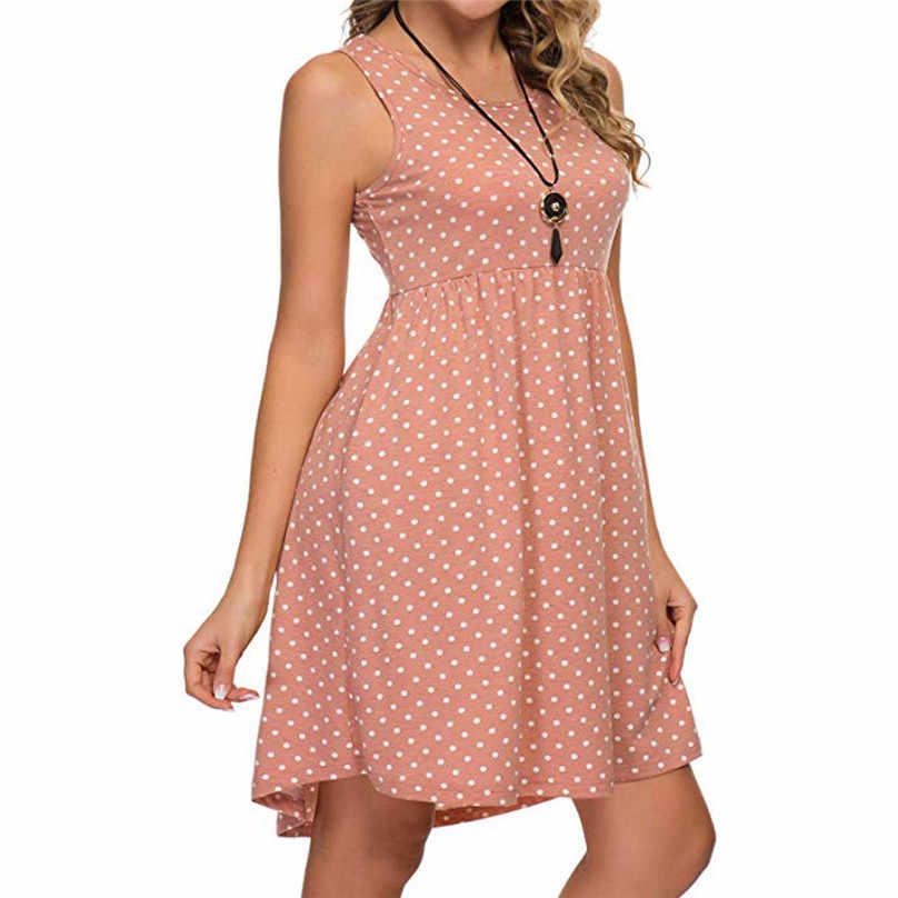 Da Praia do verão Vestido Polka Dot Impresso Mangas O-pescoço Frio Deve além de vestidos tamanho para as mulheres 4xl 5xl sukienka letnia #15