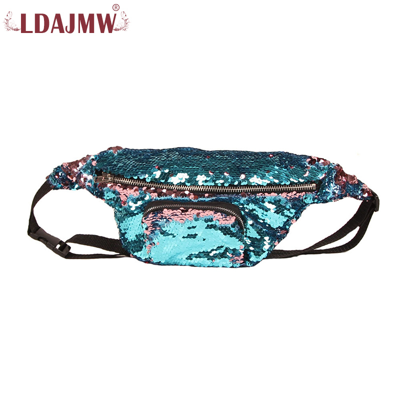 LDAJMW Colorful Sequins Waist Bag Women Men Belt Bag Womens Purse Cell Phone Pocket Fanny Pack Crossbody ...