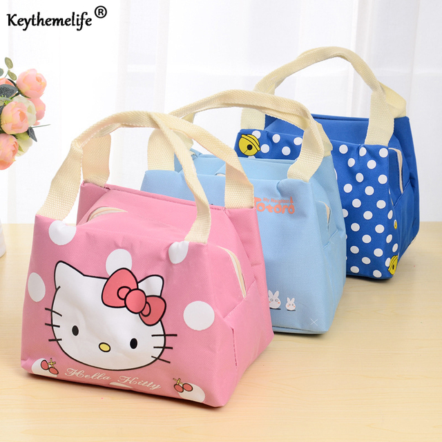 4 Style Cartoon Picnic Camping Insulated Food Lunch bags Waterproof Food Storage Bags for Women kids Men B