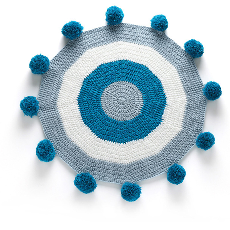 75cm Comfortable Soft High Quality Hand-knitted baby gamemat Round ball Game Pad Newborn Crawling Play Mat Baby Room Decoration