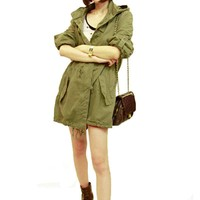 2018 Autumn Winter Women Coat Windproof Fashion Good Quality Winter Warm Army Green Military Parka Trench Hooded Coat Jacket