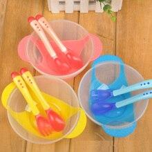 Детская посуда, обучающее детское блюдо с чашей, набор, включая ложку, вилку, полипропиленовую терморегуляцию, миску, ложку