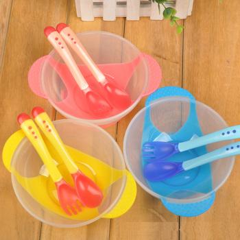 Zastawa stołowa dla dzieci naczynie do nauki dla dzieci z zestaw misek w tym łyżka widelec PP czujnik temperatury miska do karmienia niemowląt łyżka tanie i dobre opinie Obiadowy 4 miesięcy Zestaw obiadowy Stałe Silikonowe BPA za darmo Ce ue