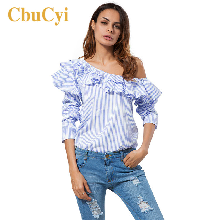 CbuCyi Wome Summer Shirts Fashion Off Shoulder Long Sleeve Blue Striped Shirt Blouses Womens Skew Collar Casual Tops Shirts
