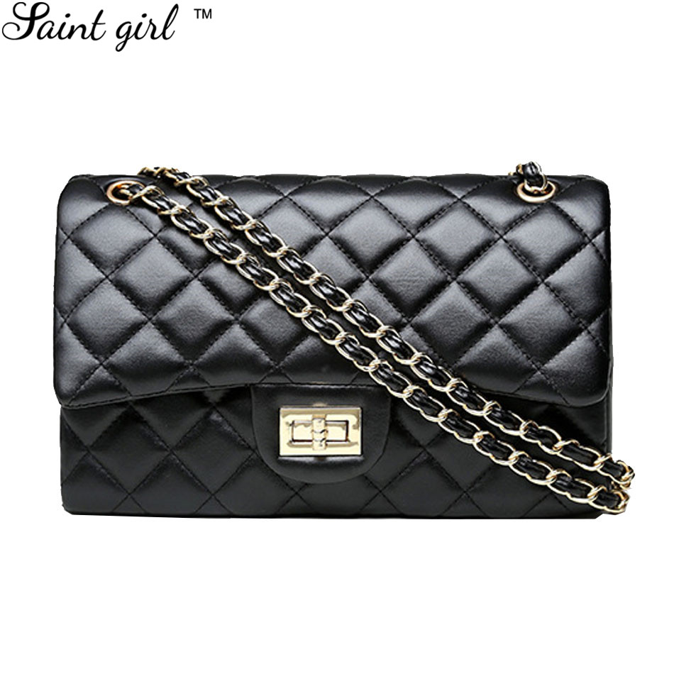 ФОТО Saint Girl Bolsa Feminina Criss-Cross Genuine Leather Shoulder & Crossbody Bag Ladies Lock Chain Women Messenger Bag SNS153