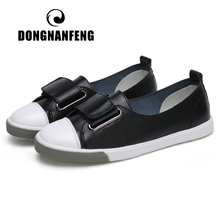 DONGNANFENG Women Ladies Female Student Genuine Leather Casual Shoes White Flats Korean Vulcanized Spring 35-41 DF-YC259