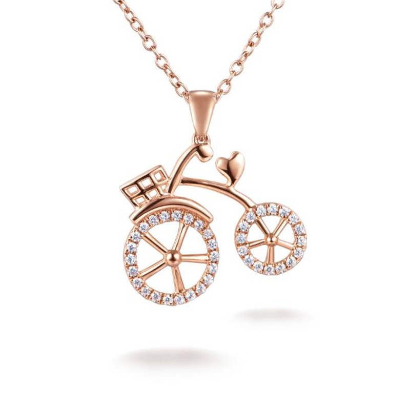 Pure 18k gold new design fashion bicycle necklace pendant for women girl graceful crystal bike necklace jewelry accessory 1.50G