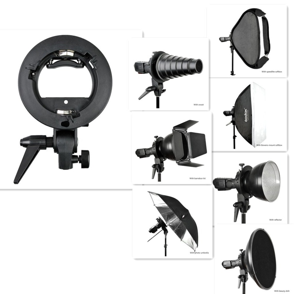 <font><b>Godox</b></font> S-Type Speedlite Bracket for Bowens Yongnuo Meike Flash Softbox with Handle image