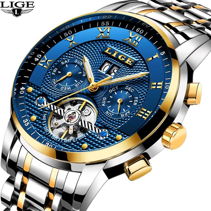 LIGE nuevo mens relojes top marca de lujo de negocios maquinaria automática reloj de los hombres todo el acero impermeable reloj de los hombres + relojes de caja 2017