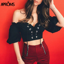 Aproms Summer Off Shoulder Lace Up Crop Top Women Short Sleeve Bow Tie Elastic Cropped Blouse Shirt Female Black Khaki Tees reddish brown tie up detail off shoulder blouse