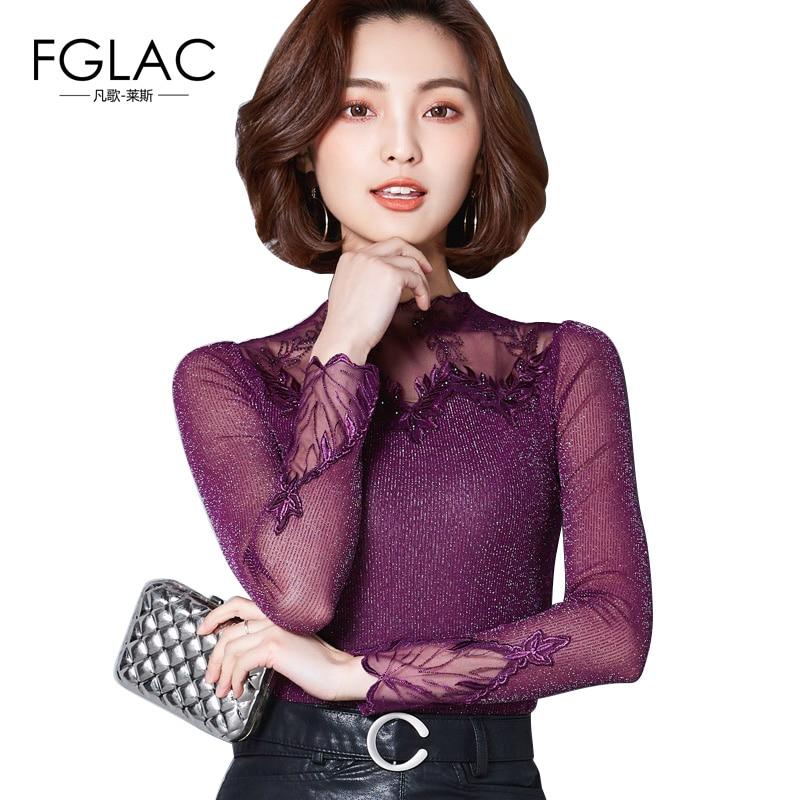 FGLAC women   blouse     shirt   Fashion long sleeved Mesh tops Elegant Slim Hollow out Diamonds Lace   shirt   Plus size women clothing