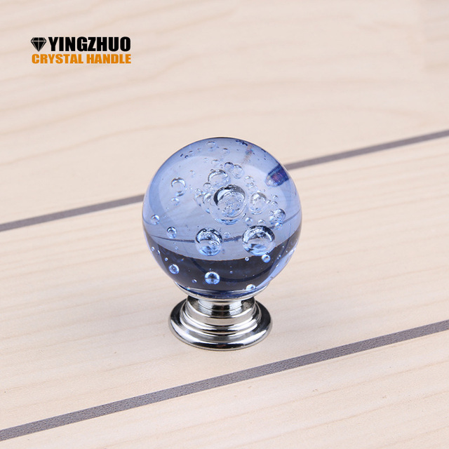 Hot Selling Crystal Glass Spherical Bubble Handshake 30mm Door Handle  Furniture Drawer Knobs Kitchen Cabinet Handles