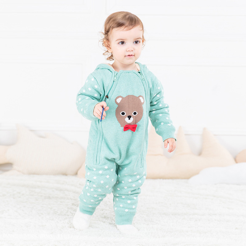 Baby Rompers Winter Newborn Baby Boys Girl Cartoon Long Sleeve Clothes Infant Warm Hoodies Jumpsuit for Kids Baby Romper Outfits цена