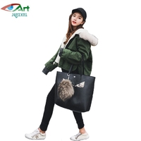 JQNZHNL 2017 New Winter Women Solid Color Loose Casual Cotton Coats Parkas Fashion Faux Fur Hooded