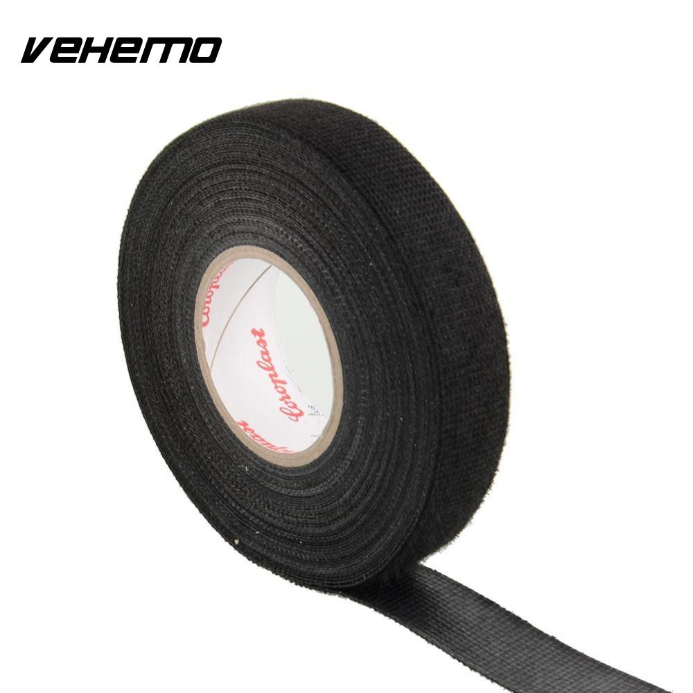 Vehemo 1x Adhesive 19mmx15m Cloth Fabric Tape Cable Looms Wiring Heat Resistant Harness For Car Styling In Stickers From