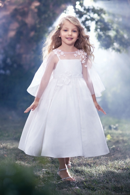 Tulle First Communion Dresses for Girls A-Line Mother Daughter Dresses Appliques Ankle-Length Flower Girl Dresses for Weddings