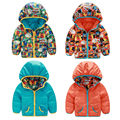 Kids Boys Padded Coats Infants Hooded Cartoon Winter Warm Down Jacket Snowsuits 2-Sides Outwears Parkas Clothing