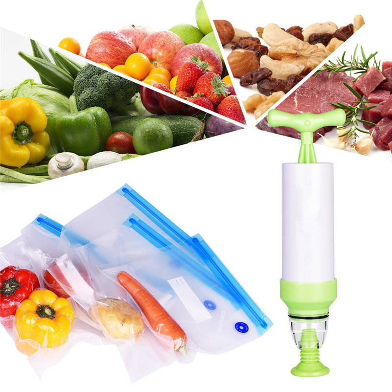 Sous Vide Bags Kit for Anova Cookers - 20 BPA Free Reusable Vacuum Bags, 1 Hand Pump, 2 Bag Sealing Clips and 4 Sous Vide Clips