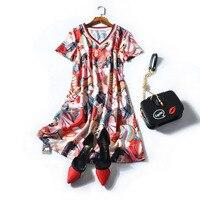 HIGH QUALITY Newest 2018 Designer Fashion Runway Dress Women S Short Sleeve V Neck Gorgeous Print