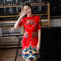 2019 Luxury Floral Print Qipao Party Dress for Women Flower Print Short Cheongsam Dress Traditional Chinese Dress S M L XL XXL
