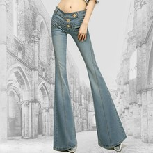 European Style High Waisted Plus Size Bell Bottom Jeans Pants Button Fly Flared Jeans Skinny Flare Woman