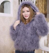 New 2017 Women Winter encryption 100% natural ostrich feathers hooded coats,real turkey feather fur coats and jacket for girls