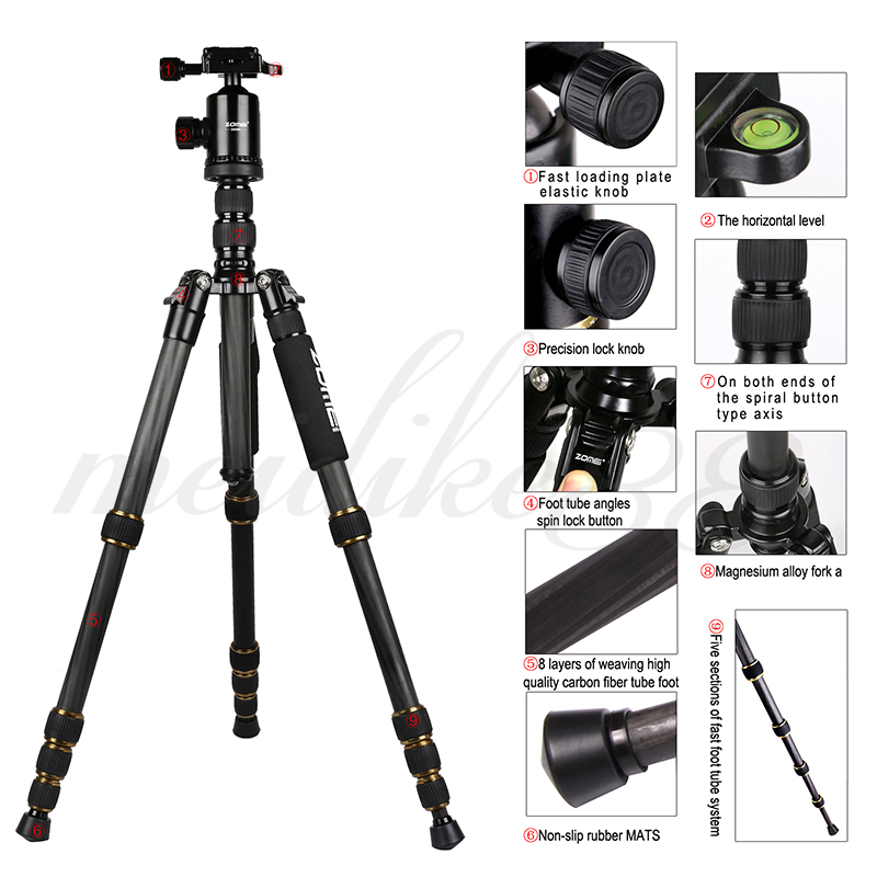 Zomei-Z699C-Professional-Carbon-Fiber-Travel-Tripod-Monopod-with-Ball-Head-Stand-for-Camera-Camcorder(1)