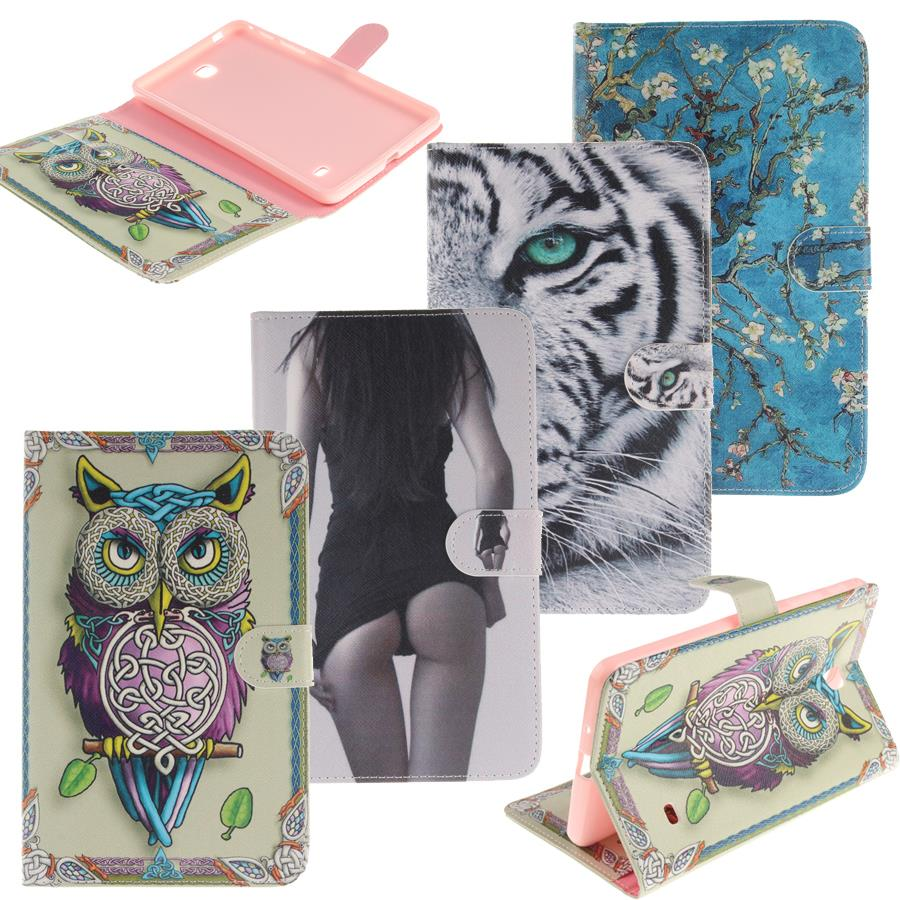 case for samsung galaxy tab 4 8.0 SM-T330/T331 Owl Tiger Print Stand Case tablet Smart Cover for samsung tab 4 8.0