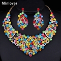 Minlover Moda 2016 Banhado A Ouro de Cristal Mulheres Conjuntos de Jóias Africano Beads Gargantilha Colar + Brincos Conjunto de Jóias Indiano TL409