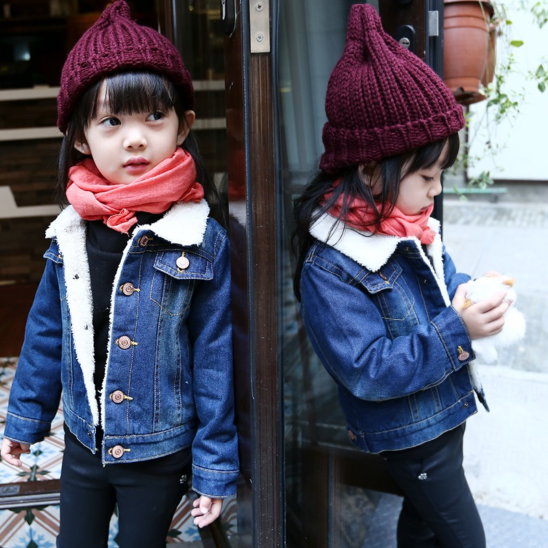 1-5 yrs baby girls winter Thick denim jacket 2016 new child warm outwear Turn-down Collar Single-breasted kids girl Jeans jacket