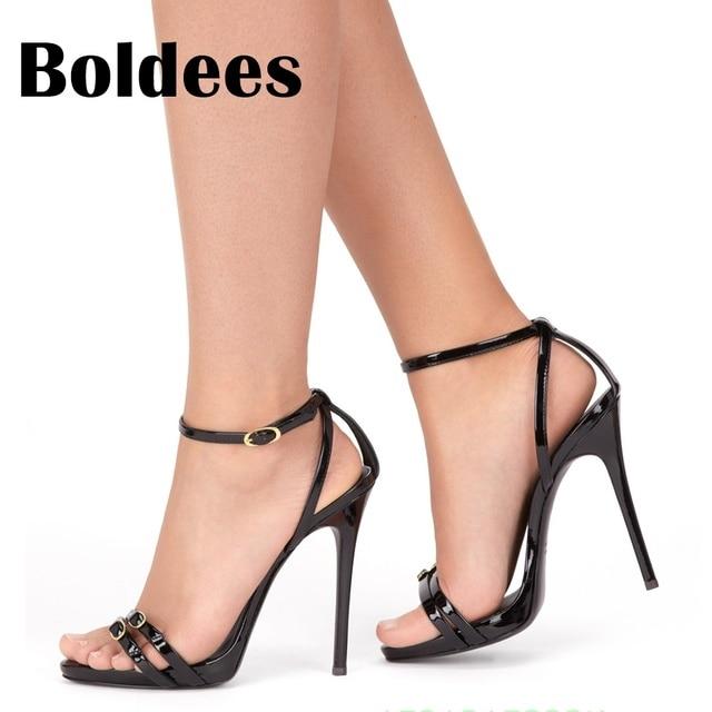 34f00cba9af Boldees mujeres sandalias Extreme high heels negro Sandalias Mujer sandalia  feminina verano moda hebilla tacones finos