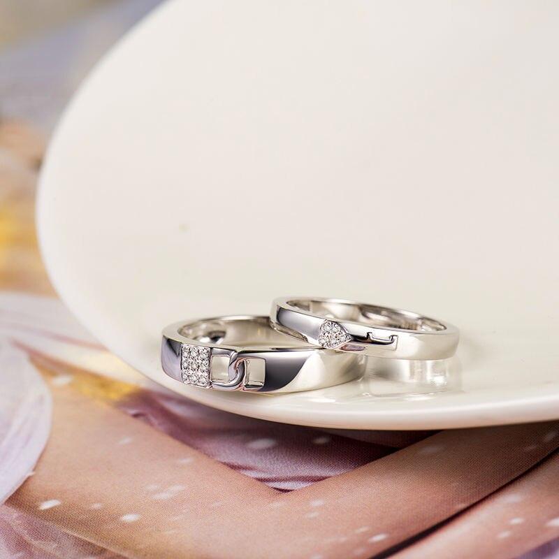 Loverjewelry, хит продаж, обручальные кольца для пар, замок и ключ, любовь, одноцветное, 18 К, белое золото, бриллиант, обручальное, юбилейное кольцо - 3