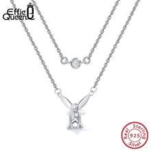 Effie Queen Silver Pendant Necklace For Women Fairy Angel Wings Elf AAA Zircon Double Chain 925 Jewelry BN109