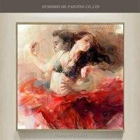 Новый ручной росписью романтическая картина маслом сексуальные пары Танцы живопись современный Рисунок настенная живопись впечатление Ка...