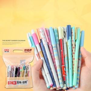 Image 4 - Canetas de gel 100 pçs/lote scm coréia empresa criativa papelaria gel caneta mix 0.35 0.38 0.5 canetas para artigos de papelaria estudante suprimentos