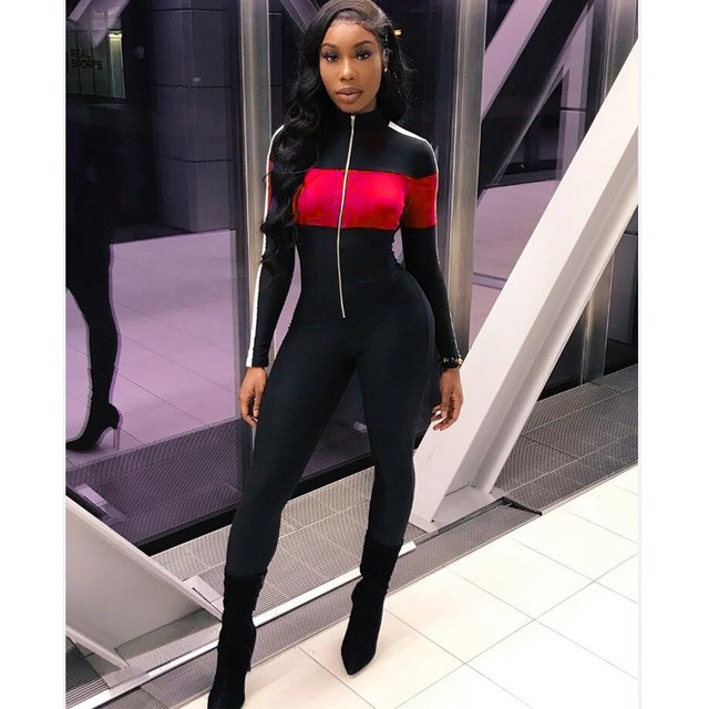 Women Contrast Color Sexy Bodycon Jumpsuit Overall Long Sleeve Skinny Jumpsuit Front Zipper Casual Long Rompers