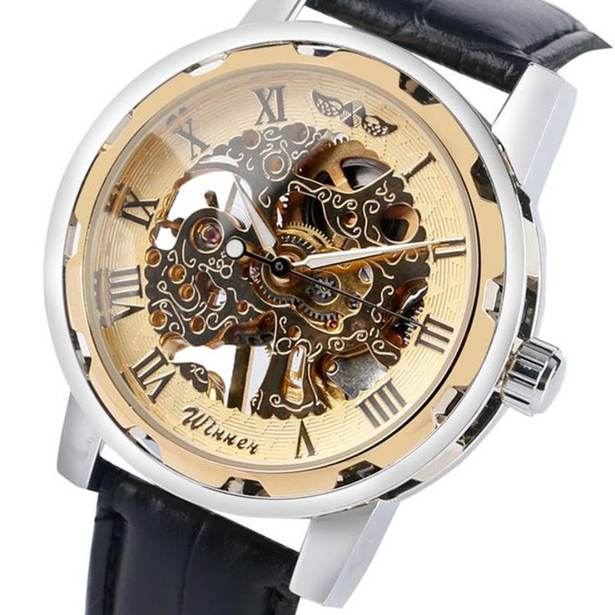 Skeleton Mechanical Watch Men Leather Dial Automatic Business Luxury Sport Military Wristwatch Casual Male Clock dropshiping L30