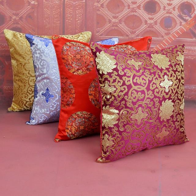 370b3c7b8 Chinese Flower Cushion Cover 45x45cm Christmas Cushions Home Decor Silk  Satin Pillow Cover Square Sofa Chair