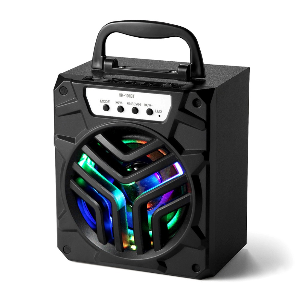 Portable5V/1A Outdoor HK-101BT Bluetooth Speaker Super Bass Support TF/AUX/FM Radio For Smart Phones Computer
