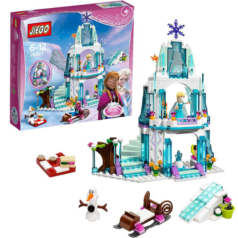 316Pcs Friend Figures Princess Elsa's Sparkling Ice Castle Model Building Kits Blocks Bricks Toys For Children Compatible 41062 4080pcs city figures cinderella princess castle model building kits blocks bricks toys for children christmas compatible 71040