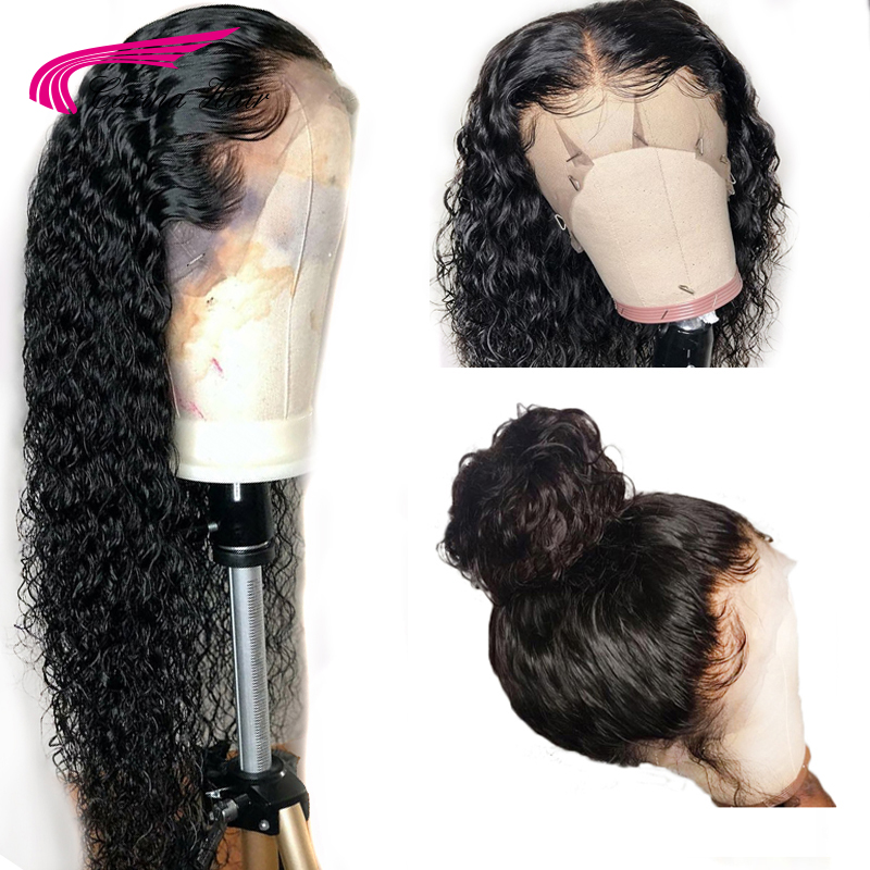 Carina Brazilian Curly Lace Front Human Hair Wigs 150Density 13*4Free Part Pre-Plucked Hairline Non-Remy Human Hair Wigs