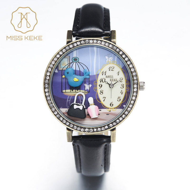 Miss Keke 3d Clay Cute Vintage Retro Cooper Bule Bird Rhinestone сағаттары Relogio Feminino Ladies Women Leather Wristwatch 1011
