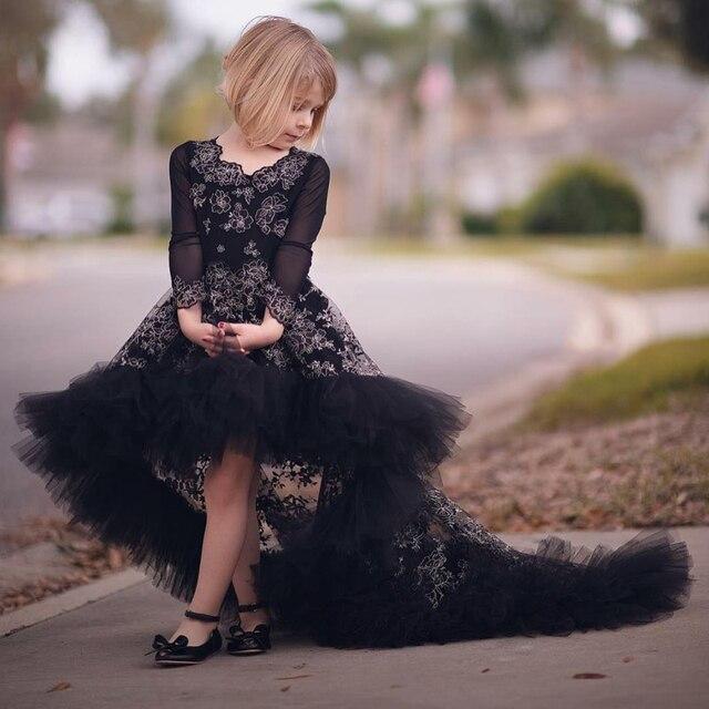 5e30556d6eb22 رائعة زهرة فتاة فساتين سوداء الدانتيل تول ثوب التخرج الاطفال طويلة الأكمام طفل  اللباس المسابقة مخصص