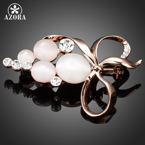 AZORA Bowknot Design Rose Gold Color Stellux Austrian Crystal Pin Brooch TP0021 charming crystal gold rose brooch