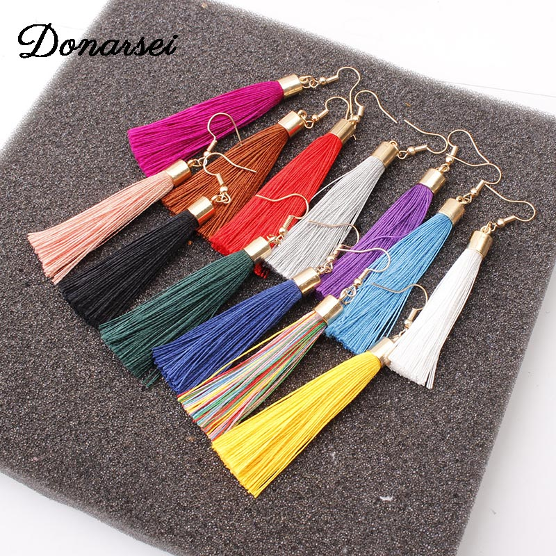 Donarsei Bohemian Long Fringe Tassel Earrings For Women Simple Black Rope Hook Drop Dangle Earrings Jewelry Gift 2