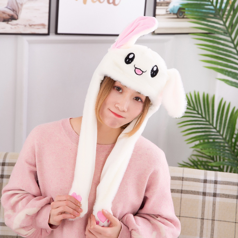 2019 Funny Plush Animal Rabbit Ear Hat Bunny Cap With Airbag Jumping Ear Movable Gift  Dropshipping Cap Gorras Wholesale