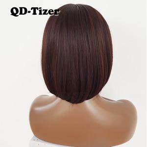 Image 5 - QD Tizer Korte Bob Haar Geen Kant Pruiken Zijdeachtige Top Hittebestendige Synthetische Lijmloze Pruiken voor Zwarte Vrouwen