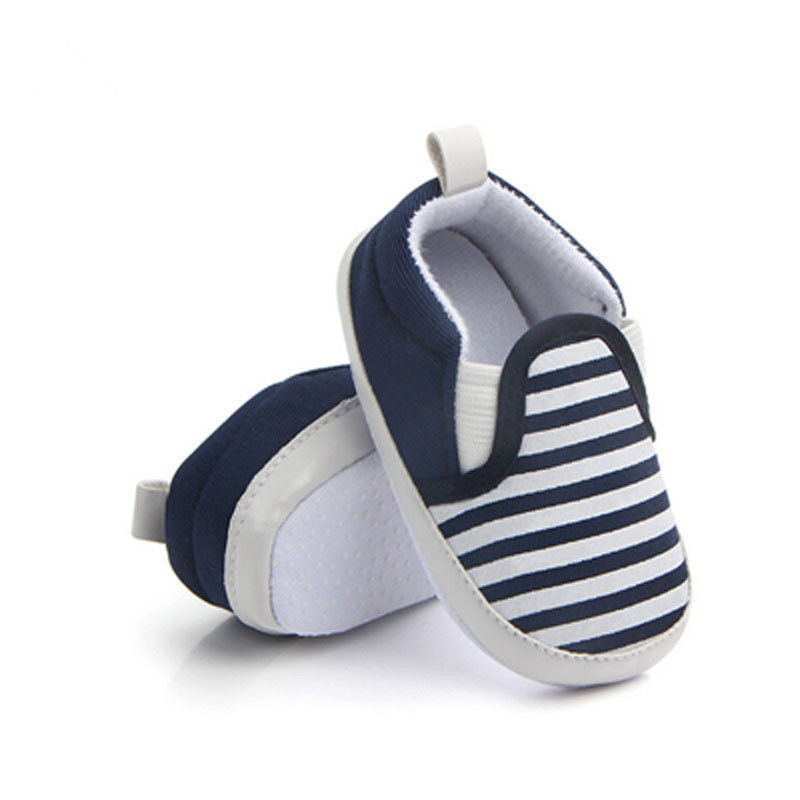 Brand New Pram Newborn Toddler Baby Girls Boys Kids Infant First Walkers Striped Classic Shoes Loafers Casual Soft Shoes DS19